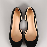 Nubuck Open Arch Pointy Toe Flat