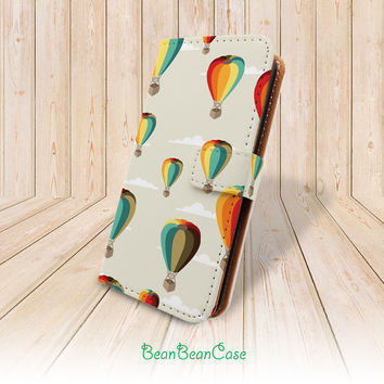 hot air balloons wallet pu leather case for iPhone 6 6 Plus 5 5S 5c 4 4S leather case, moto X case, Samsung Note 4 3 Galaxy S4 S5 S3 (A55)