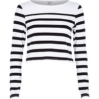 River Island Womens White stripe long sleeve crop top
