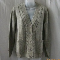 New petite Tradition Country Collection long-sleeved oatmeal cardigan - Sweaters