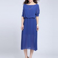 3/4 Length Sleeve Pleat Dress $45.00