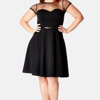 Plus Size Women's City Chic Dot Yoke Fit & Flare Dress,