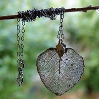 Nature Lover Necklace Real Aspen Leaf Organic by OliviaClare