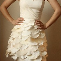 A-line Strapless Sweetheart Ruffled Skirt Knee Length Prom Dress PD1961