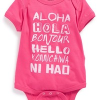 Infant Girl's Feather 4 Arrow 'Hello' Bodysuit,