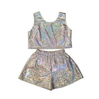 Holographic Top and Shorts Two Piece