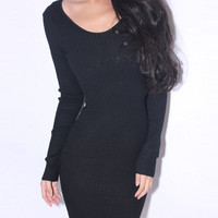 Sexy  Halter Knitted Black Dress $42.00