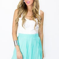 TEAL PLEATED HIGH LOW SKIRT