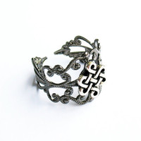 Celtic Ring  - Gunmetal Filigree Ring with Celtic Eternity Knot