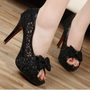 Discount China  2012 Lace Bowknot Fish Mouth Stiletto Sandal GQNN-825-9B [GQNN-825-9B] - US$13.70 : Fashion Ladies Shoes&Bags Wholesale Online at Egogog.com