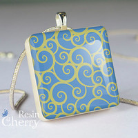 sapphire blue scrabble tile pendant,art jewelry,flower necklace pendants- T0559SI