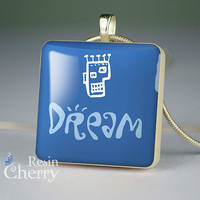 dream resin pendants,word dream scrabble tile pendant- W0289SI