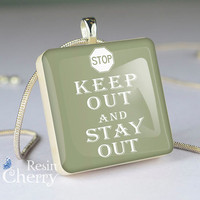 quotes necklace pendants,art scrabble tile pendant,keep out and stay out- P0259SI