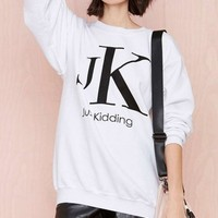 Fashion JK White Sweatshirt - OASAP.com