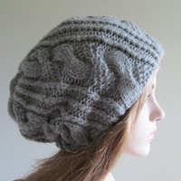 Slouchy Beanie Slouch Hand Knit Cozy Spring Winter Wool Hats Oversize Beret Baggy Grey Big Cables