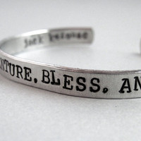 Jack Kerouac Bracelet - Live Travel Adventure- 2-Sided Hand Stamped Aluminum Cuff - customizable