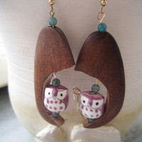 Owl in a Tree Earrings