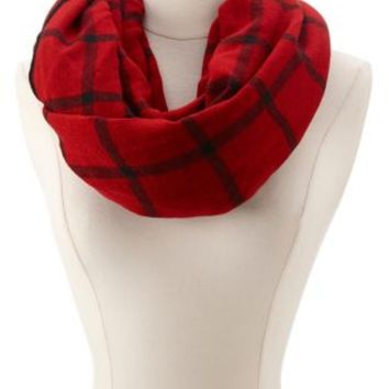 Plaid Sweater Knit Infinity Scarf by Charlotte Russe - Red Combo