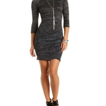 Ruched Bodycon Tulip Dress by Charlotte Russe - Heather Gray