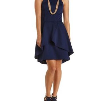 Quilted High-Low Tulip Dress by Charlotte Russe - Navy