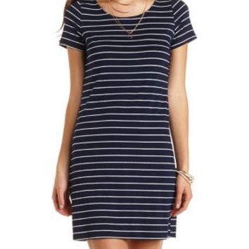 Short Sleeve Striped T-Shirt Dress by Charlotte Russe - Navy Combo
