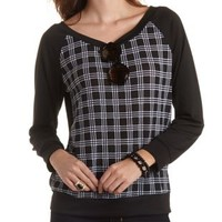 Houndstooth Plaid Raglan Top by Charlotte Russe - Black Combo