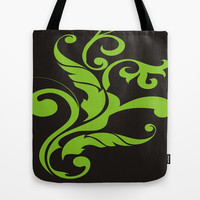 Floral Swirls Green on Black Tote Bag by EML CircusValley