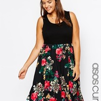 ASOS CURVE Exclusive Skater Dress With Printed Skirt and Rib Top In Longer Length