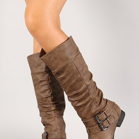 Buckle Knee High Riding Boot