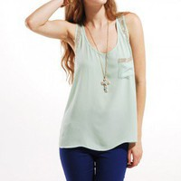 Embellished Chiffon Tank in Mint