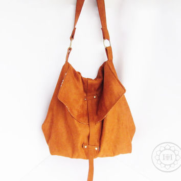Hobo bag - Hydra Messenger in Copper Vegan Suede - Carry all shoulder purse - Handmade handbag