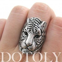 Tiger Cat Animal Ring in Silver - Sizes 6 and 7 available