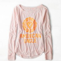 AEO Women's Signature Graphic Raglan T-shirt (Neon Orange)