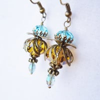 Victorian Style Bronze Yellow & Teal Layered Crystal Earrings