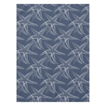 Starfish Navy Blue Beach Table Cloth