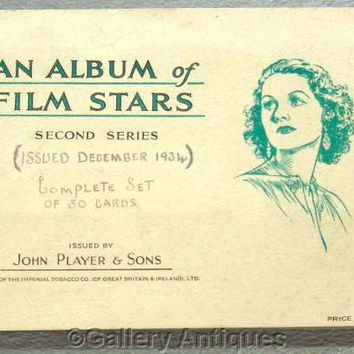 Film Stars 2nd Series Full Set of 50 Cigarette Cards in Original Album by John Player & Sons Issued in 1934 (ref: 3091c)