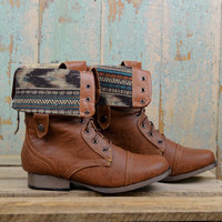 Southern Pines Whisky Tribal Combat Boots