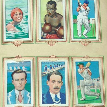 Champions 2nd series Full Set of 48 Original Cigarette Cards in Official (Park Drive) Album by Gallaher Ltd Issued in 1935 (ref: 3091)