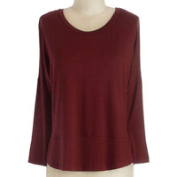 Layer on Loveliness Top in Cranberry | Mod Retro Vintage Long Sleeve Shirts | ModCloth.com