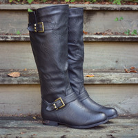 Windy Hills Tall Black Buckle Riding Boots
