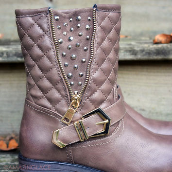 Well Traveled Brown Studs Quilted Boots