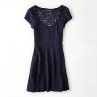 AEO Women's Shimmery Lace Inset Kate Dress (Navy)