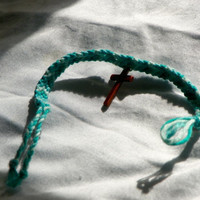 BlueFriendship Bracelet with Cross Charm