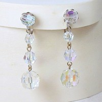 Vintage Swarovski Crystal Dangle Earrings Clear AB Silvertone