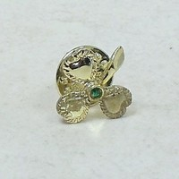 Vintage Goldtone Clover Push Pin with Emerald Center Stone