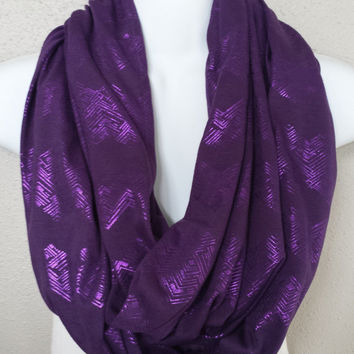 Purple Shimmer Tribal Chevron Print on Purple Knit Fall Infinity Scarf Womens Fall Fashion Infinity Scarves Girls Trending Holiday Scarves