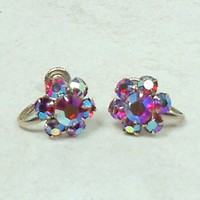 Vintage Earrings Hot Pink AB Rhintestone Flower 13mm