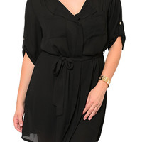 Black Plus Size Sexy Sheer Chiffon Casual Date Dress with Sash