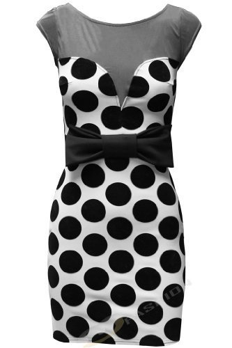 Womens Ladies Spotted Polka Dot Mesh Panel Sweetheart Neckline Prom Bow Bodycon Dress Retro UK 8 10 12 14 Mint Nude White: Amazon.co.uk: Clothing