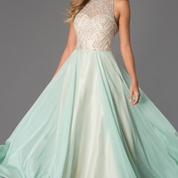Floor Length Sleeveless Dress with Illusion Bodice by Dave and Johnny